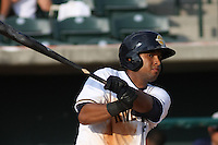 Charleston Riverdogs outfielder Zoilo Almonte #7 at bat during a game vs. the Rome Braves at Joseph P. Riley Jr. Ballpark in Charleston, South Carolina on June 6, 2010. Charleston defeated Rome by the score of 4-2.  Photo By Robert Gurganus/Four Seam Images