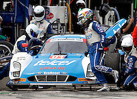 #01 Ford Riley Scott Pruett, Memo Rojas, Pit Stop, IMSA Tudor Series Race, Road America, Elkhart Lake, WI, August 2014.  (Photo by Brian Cleary/ www.bcpix.com )