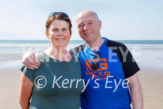 Enjoying a stroll on Inch beach on Saturday, l to r: Eddie and Noreen Fitzgerald