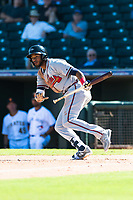Peoria Javelinas right fielder Izzy Wilson (7), of the Atlanta Braves organization, bunts during an Arizona Fall League game against the Surprise Saguaros at Surprise Stadium on October 17, 2018 in Surprise, Arizona. (Zachary Lucy/Four Seam Images)