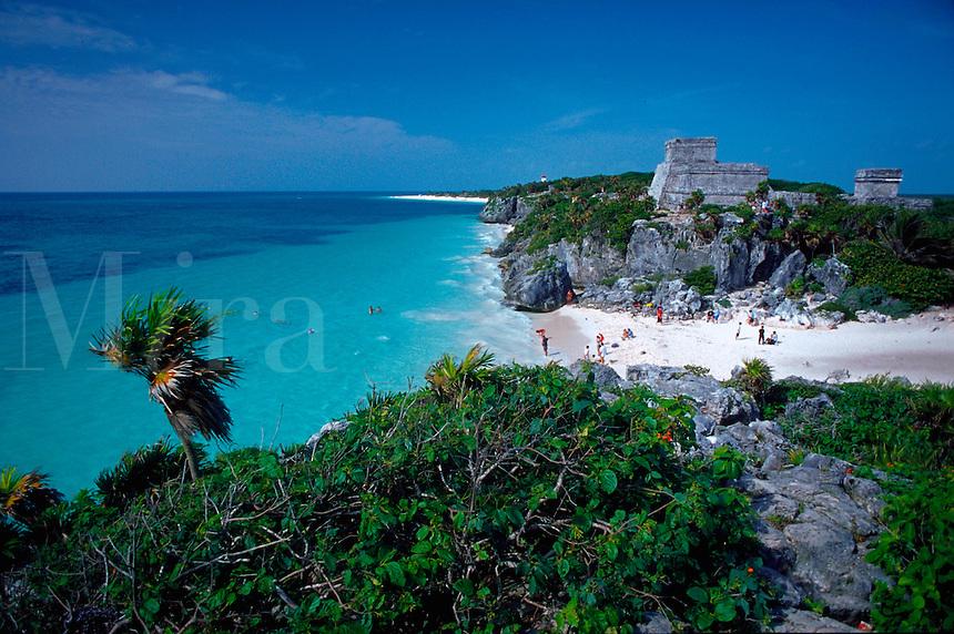 Mexico, Tulum ruins overlooking beach