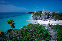 Mexico, Tulum ruins overlooking beach