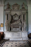 A grand 17th century monument to Henry Somerset, Duke of Beaufort by Grinling Gibbons in St Michael and All Angels church.