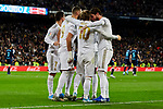 Players of Real Madrid celebrate goal during La Liga match between Real Madrid and Real Sociedad at Santiago Bernabeu Stadium in Madrid, Spain. November 23, 2019. (ALTERPHOTOS/A. Perez Meca)