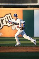 Zach McKinstry (24) of the Rancho Cucamonga Quakes runs towards a ground ball during a game against the Modesto Nuts at LoanMart Field on June 5, 2017 in Rancho Cucamonga, California. Rancho Cucamonga defeated Modesto, 7-5. (Larry Goren/Four Seam Images)