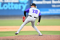 Winston-Salem Dash pitcher Wilber Perez (28) delivers a pitch during a game against the Asheville Tourists on June 26, 2021 at McCormick Field in Asheville, NC. (Tony Farlow/Four Seam Images)