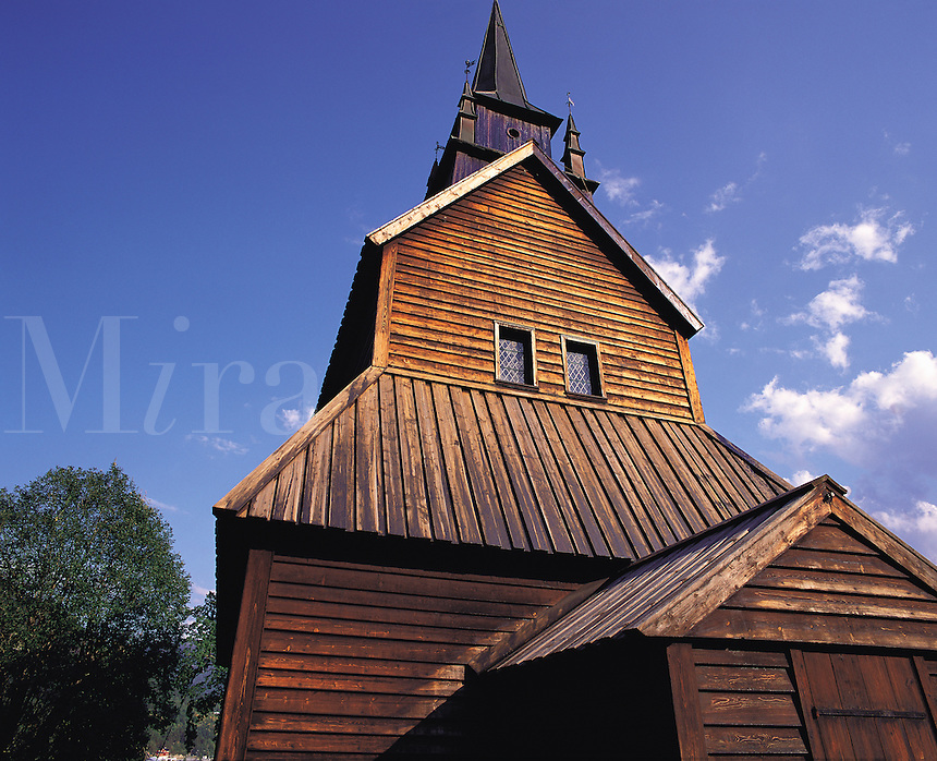 Traditional stave church in Kaupanger near Sogndal in the Sogn district of Fjordland, Norwa