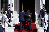 Pictured: French President Emmanuel Macron (R) and Greek Prime Minister Alexis Tsiptas climb the steps of Megaro Maximou (Maximou Mansion) in Athens, Greece. Thurday 07 September 2017<br /> Re: French President Emmanuel Macron state visit to Athens, Greece.