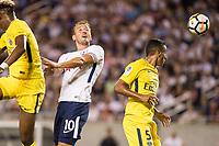 Orlando, FL - Saturday July 22, 2017: Harry Kane, Marquinhos during the International Champions Cup (ICC) match between the Tottenham Hotspurs and Paris Saint-Germain F.C. (PSG) at Camping World Stadium.