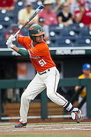 Miami Hurricanes shortstop Brandon Lopez (51) at bat against the UC Santa Barbara Gauchos in Game 5 of the NCAA College World Series on June 20, 2016 at TD Ameritrade Park in Omaha, Nebraska. UC Santa Barbara defeated Miami  5-3. (Andrew Woolley/Four Seam Images)