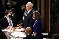 United States Vice President Mike Pence gavels out a joint session of Congress to count the Electoral College votes from the 2020 presidential election on Wednesday, January 6, 2021.<br /> CAP/MPI/RS<br /> ©RS/MPI/Capital Pictures