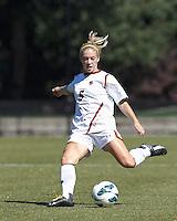 Boston College midfielder Lauren Bernard (5) passes the ball. Virginia Tech (maroon) defeated Boston College (white), 1-0, at Newton Soccer Field, on September 22, 2013.