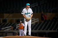 Salt River Rafters starting pitcher Nick Neidert (15), of the Miami Marlins organization, during an Arizona Fall League game against the Naranjeros de Hermosillo on September 24, 2019 at Salt River Fields at Talking Stick in Phoenix, Arizona. Salt River defeated Hermosillo 4-1. The Naranjeros, of the Mexican Pacific League, played in Scottsdale as part of the Mexican baseball Fiesta. (Zachary Lucy/Four Seam Images)