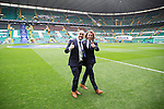 St Johnstone v Dundee United....17.05.14   William Hill Scottish Cup Final<br /> Lee Croft and Stevie May on the pitch at Celtic Park ahead of kick off<br /> Picture by Graeme Hart.<br /> Copyright Perthshire Picture Agency<br /> Tel: 01738 623350  Mobile: 07990 594431