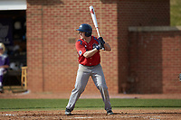 Tom Brady (23) of the NJIT Highlanders at bat against the High Point Panthers at Williard Stadium on February 18, 2017 in High Point, North Carolina. The Panthers defeated the Highlanders 11-0 in game one of a double-header. (Brian Westerholt/Four Seam Images)