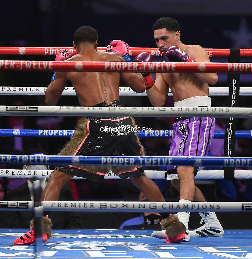 ARLINGTON, TX - DECEMBER 5: Errol Spence Jr. and Danny Garcia during their fight on Fox Sports PBC Pay-Per-View fight night at AT&T Stadium in Arlington, Texas on December 5, 2020. (Photo by Frank Micelotta/Fox Sports)