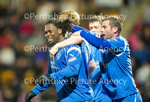 St Johnstone v Brechin....22.03.11  Scottish Cup Quarter Final replay.Collin Samuel celebrates his goal with Peter MacDonald.Picture by Graeme Hart..Copyright Perthshire Picture Agency.Tel: 01738 623350  Mobile: 07990 594431