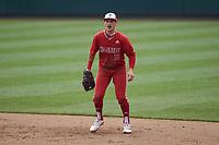 North Carolina State Wolfpack first baseman Austin Murr (12) on defense against the North Carolina Tar Heels at Boshamer Stadium on March 27, 2021 in Chapel Hill, North Carolina. (Brian Westerholt/Four Seam Images)
