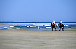 People and horses on Popham Beach, Popham Beach State Park, Phippsburg, Maine, USA