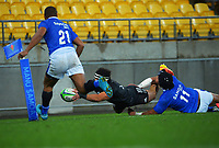 during the international rugby match between Manu Samoa and the Maori All Blacks at Sky Stadium in Wellington, New Zealand on Saturday, 26 June 2021. Photo: Dave Lintott / lintottphoto.co.nz