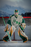 UAA Seawolves Hockey #30 goaltender Luc Brown on the ice at Anchorage's Westchester Lagoon.