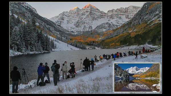 Photo (16x6) for video with Preston Newell and Bruce Henderson, Public Access TV. 2016, Colorado 14er, Colorado Fourteener, Fourteener, Maroon Bells, autumn, crowd of photographers, fall season, first light,