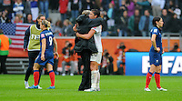 Coach Pia Sundhage (l) and Abby Wambach of team USA celebrate during the FIFA Women's World Cup at the FIFA Stadium in Moenchengladbach, Germany on July 13th, 2011.