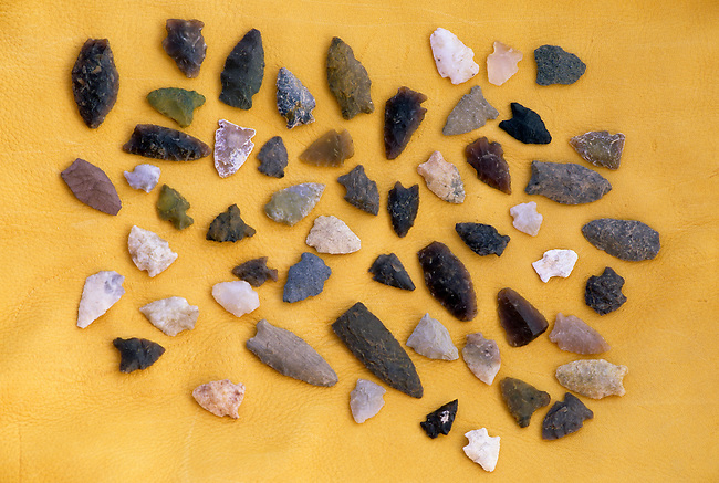 Assortment of stone arrow points that were collected in Southern Saskatchewan Canada and used by the Cree Indians. Property released