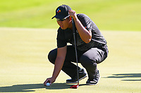 Byeong Hun An places his ball ready for his putt on the 3rd green during the BMW PGA Golf Championship at Wentworth Golf Course, Wentworth Drive, Virginia Water, England on 26 May 2017. Photo by Steve McCarthy/PRiME Media Images.
