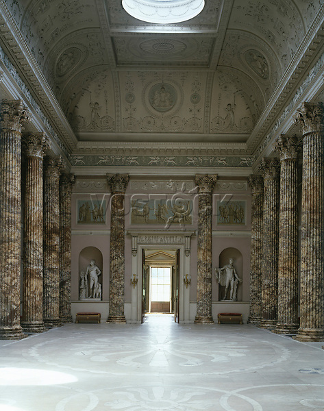 Kedleston Hall, Derbyshire, England, 1759 - 1765. The Marble Hall. Stucco work ceiling with alabaster columns.