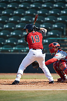 Matt Whatley (19) of the Hickory Crawdads at bat against the Lakewood BlueClaws at L.P. Frans Stadium on April 28, 2019 in Hickory, North Carolina. The Crawdads defeated the BlueClaws 10-3. (Brian Westerholt/Four Seam Images)
