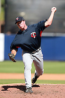 Minnesota Twins minor league pitcher Ryan O'Rourke delivers a pitch during an Instructional League game vs. the Tampa Bay Rays at Charlotte Sports Park in Port Charlotte, Florida;  October 5, 2010.  Photo By Mike Janes/Four Seam Images