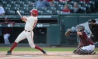 Arkansas first baseman Brady Slavens connects Wednesday, April 7, 2021, for a three-run home run during the first inning of the Razorbacks' 10-3 win over UALR at Baum-Walker Stadium in Fayetteville. Visit nwaonline.com/210408Daily/ for today's photo gallery. <br /> (NWA Democrat-Gazette/Andy Shupe)