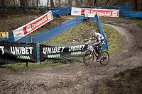 CX world champion Mathieu Van der Poel (NED/Alpecin-Fenix) on his way to yet another victory<br /> <br /> 2021 Flandriencross Hamme (BEL)<br /> Men's Race<br /> <br /> ©kramon