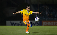 Danny Rowe of Wycombe Wanderers hits the ball upfield during the Johnstone's Paint Trophy match between Bristol Rovers and Wycombe Wanderers at the Memorial Stadium, Bristol, England on 6 October 2015. Photo by Andy Rowland.