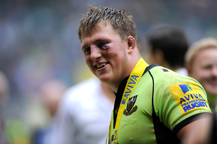 Winning try scorer Alex Waller of Northampton Saints with battle scars after winning the Aviva Premiership Rugby Final against Saracens at Twickenham Stadium on Saturday 31st May 2014 (Photo by Rob Munro)
