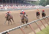 Manhattan Miss wins the fifth race at Saratoga on Aug. 26, 2009 for trainer Steve Klesaris and jockey Ramon Dominguez.