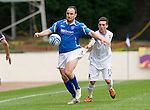 St Johnstone v Inverness Caley Thistle....07.04.12   SPL.Lee Croft is pulled back by Graeme Shinnie and then immediately pulls up holding his hamstring.Picture by Graeme Hart..Copyright Perthshire Picture Agency.Tel: 01738 623350  Mobile: 07990 594431