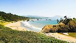 Battle Rock Park, beach, sea stacks and view to Humbug Mountain; Port Orford, Oregon Coast.