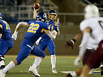 BROOKINGS, SD - MAY 2: Quarterback Mark Gronowski #11 the hits receiver Isaiah Davis #22 of the South Dakota State Jackrabbits  for a gain against the Southern Illinois Salukis at Dana J Dykhouse Stadium on May 2, 2021 in Brookings, South Dakota. (Photo by Dave Eggen/Inertia)