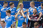 St Johnstone FC photocall Season 2016-17<br />Brian Easton messing about before the photocall with Alan Mannus, Steven Anderson and Blair Alston<br />Picture by Graeme Hart.<br />Copyright Perthshire Picture Agency<br />Tel: 01738 623350  Mobile: 07990 594431