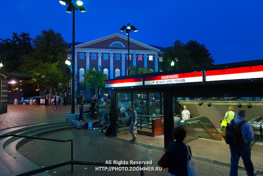Harvard Square Metro Station entrance red line, Boston