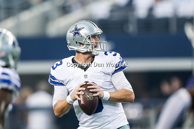 Dallas Cowboys quarterback Brandon Weeden (3) in action during the pre-season game between the Baltimore Ravens and the Dallas Cowboys at the AT & T stadium in Arlington, Texas. Baltimore defeats Dallas  37-30.