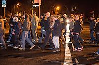 """Am Montag den 24. November 2014 demonstrierten ca. 700 Neonazis, Hooligans, NPD-Mitglieder und Mitglieder der Neonazipartei """"Die Rechte"""", sowie eine sog. """"Buegerbewegung Hellersdorf"""" in Berlin Marzahn-Hellersdorf mit einer """"Montagsdemo"""" gegen eine geplante Unterkunft fuer Fluechtlinge.<br /> Die Demonstrationsteilnehmer bruellten aggresiv Parolen gegen Fluechtlinge, die geplante Unterkunft - """"Nein zum Heim"""" und die anwesenden Journalisten - """"Deutsche Presse auf die Fresse!"""". Aus der Demonstration heraus wurden Journalisten bespuckt und geschlagen. Etliche Teilnehmer trugen sog. """"passive Bewaffnung"""" (Helme) und waren vermummt.<br /> Die mit mehreren hundert Beamten anwesende Polizei schritt nicht ein.<br /> Gegen den rechten Aufmarsch protestierten 150 Personen.<br /> Bildmitte mit heller Hose: Gesine Hennrich, Mitglied im Berliner Landesvorstand der Neonazi-Partei """"Die Rechte"""". Vor Hennrich: Dennis Kittler, ebenfalls Mitglied im Landesvorstand der Neonazi-Partei """"Die Rechte"""".<br /> 24.11.2014, Berlin<br /> Copyright: Christian-Ditsch.de<br /> [Inhaltsveraendernde Manipulation des Fotos nur nach ausdruecklicher Genehmigung des Fotografen. Vereinbarungen ueber Abtretung von Persoenlichkeitsrechten/Model Release der abgebildeten Person/Personen liegen nicht vor. NO MODEL RELEASE! Nur fuer Redaktionelle Zwecke. Don't publish without copyright Christian-Ditsch.de, Veroeffentlichung nur mit Fotografennennung, sowie gegen Honorar, MwSt. und Beleg. Konto: I N G - D i B a, IBAN DE58500105175400192269, BIC INGDDEFFXXX, Kontakt: post@christian-ditsch.de<br /> Bei der Bearbeitung der Dateiinformationen darf die Urheberkennzeichnung in den EXIF- und  IPTC-Daten nicht entfernt werden, diese sind in digitalen Medien nach §95c UrhG rechtlich geschuetzt. Der Urhebervermerk wird gemaess §13 UrhG verlangt.]"""