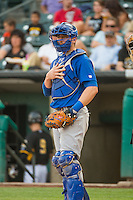 Taylor Teagarden (21) of the Iowa Cubs during the game against the Salt Lake Bees in Pacific Coast League action at Smith's Ballpark on August 21, 2015 in Salt Lake City, Utah. The Bees defeated the Cubs 12-8.  (Stephen Smith/Four Seam Images)