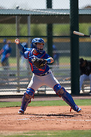 Chicago Cubs catcher Jonathan Soto (2) during an Extended Spring Training game against the Colorado Rockies at Sloan Park on April 17, 2018 in Mesa, Arizona. (Zachary Lucy/Four Seam Images)