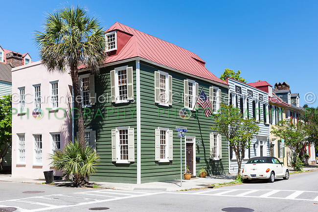 Historic antebellum residences on Church Street in the French Quarter District of Charleston, South Carolina.