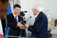Xi Jinping and Sergio Mattarella<br /> Rome March 22nd 2019. The President of the Chinese Democratic Republic visits the President of the Italian Republic at Quirinale.<br /> photo di Paolo Giandotti/Presidenza della Repubblica/Insidefoto