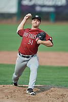 Idaho Falls Chukars starting pitcher Jon Heasley (51) delivers a pitch to the plate against the Ogden Raptors at Lindquist Field on July 29, 2018 in Ogden, Utah. The Raptors defeated the Chukars 20-19. (Stephen Smith/Four Seam Images)