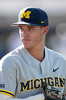 Michigan Wolverines shortstop Benjamin Sems (2) before the NCAA baseball tournament against the Connecticut Huskies on June 4, 2021 at Frank Eck Stadium in Notre Dame, Indiana. The Huskies defeated the Wolverines 6-1. (Andrew Woolley/Four Seam Images)